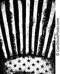 グランジ, 縦, 否定的, 年を取った, アメリカ人, template., orientation., フォトコピー, ベクトル, 旗, バックグラウンド。, モノクローム