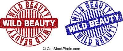 グランジ, 美しさ, 切手, シール, textured, 野生, ラウンド
