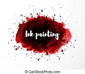 グランジ, 背景, スプラッター, 抽象的, 血, splash., 白い赤