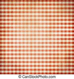 グランジ, 背景, チェックされた, ピクニック, テーブルクロス, 赤