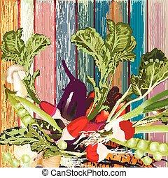 グランジ, 背景, 木製である, 野菜, ベクトル, 有機体である, 手, 引かれる