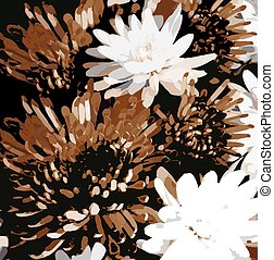グランジ, 背景, 花, スケッチする, 菊, 汚された