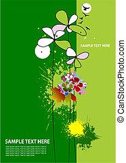 グランジ, 背景, 花, パンフレット, カバー