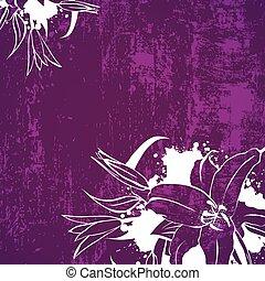 グランジ, 花, ユリ, 背景
