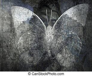 グランジ, 蝶, 背景, 手ざわり