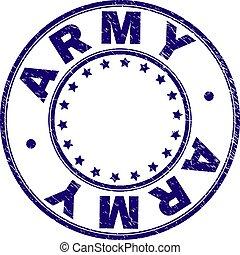 グランジ, 軍隊, 切手, textured, シール, ラウンド