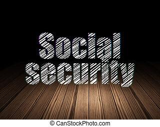 グランジ, 部屋, 暗い, 保護, 社会保障, concept: