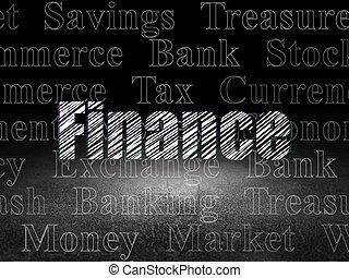 グランジ, 金融, お金, 暗い, concept:, 部屋