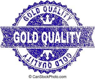 グランジ, 金, 切手, textured, シール, 品質, リボン