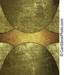 グランジ, 金, ∥差し込む∥, 上に, a, 黄色の背景