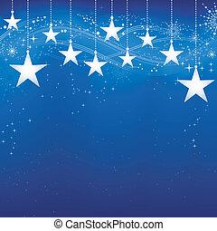 グランジ, 青い背景, 雪, elements., クリスマス, お祝い, 暗い, 星, 薄片