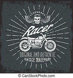 グランジ, 頭骨, 型, レーサー, 印刷, オートバイ, 翼