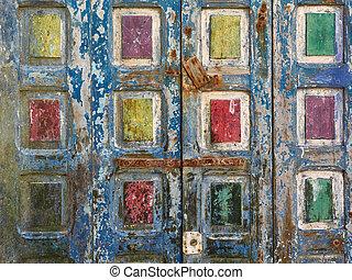 グランジ, blue., 色, 抽象的, 表面, 木製である, 黄色, 背景, 緑, 古い, 正方形, 赤