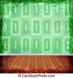 グランジ, border., 型, 抽象的, 手ざわり, バックグラウンド。, 緑, 古い, フレーム
