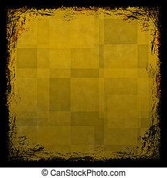 グランジ, f, 型, 抽象的, 手ざわり, 金, バックグラウンド。, 黄色