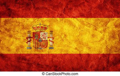 グランジ, flag., コレクション, 型, 項目, 旗, レトロ, 私, スペイン