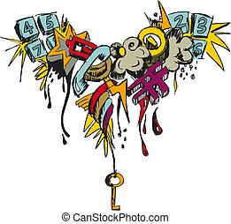 グランジ, grafitti, カラフルである