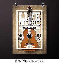 グランジ, illustration., 音楽, 背景, ギター, 生きている, ベクトル, デザイン, フライヤ, 音響
