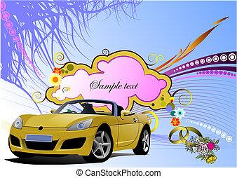 グランジ, image., cabriolet, 挨拶, ベクトル, 結婚式, 花, カード