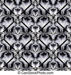 グランジ, pattern., seamless, ギリシャ語, 幾何学的, 3d