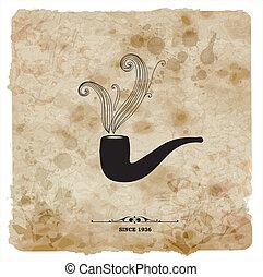 グランジ, postcard., 型, paper., パイプ, レトロ