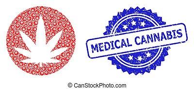 グランジ, recursive, アイコン, 医学のコラージュ, watermark, インド大麻