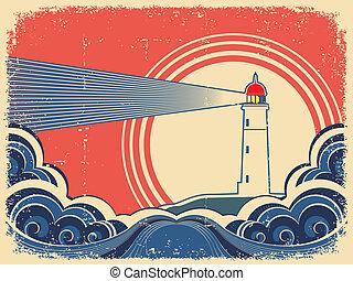 グランジ, sea., 灯台, 青い背景