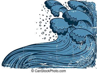 グランジ, sea., 青い背景, 波, ベクトル, 嵐, 大きい, 白