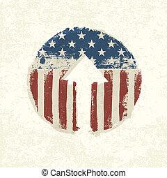 グランジ, themed, 上へ衰えなさい, アメリカ人, ベクトル, 矢, eps10, シンボル。