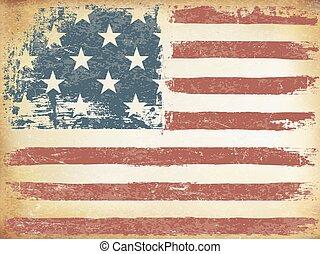 グランジ, themed, orientation., アメリカ人, バックグラウンド。, 旗, ベクトル, 横, 年を取った, template.