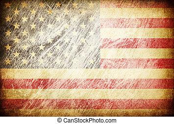 グランジ, usa., 摩擦される, シリーズ, 旗, backgrounds.