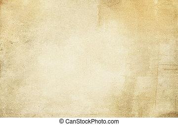 グランジ, yellowed, ペーパー, 古い, texture.