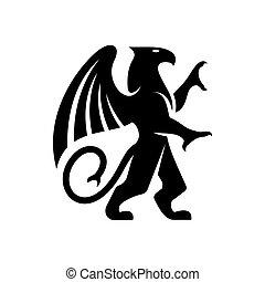 グリフィン, 生きもの, コート, 神話である, 印, 腕, 飛ぶ