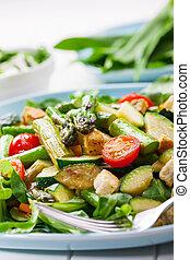 グリルされた, アスパラガス, 緑 サラダ