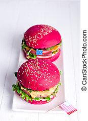 グリルされた, アメリカ人, ハンバーガー