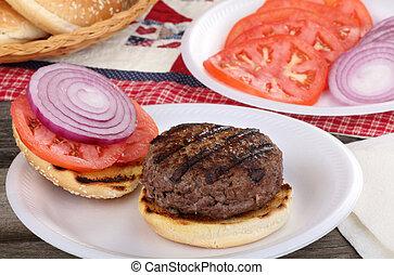 グリルされた, サンドイッチ, ハンバーガー