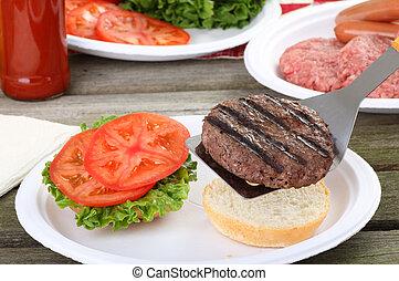 グリルされた, ハンバーガー, ピクニック