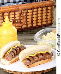 グリルされた, ピクニック, bratwurst