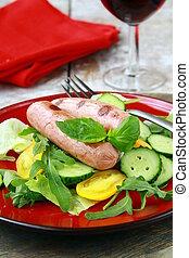 グリルされた, 昼食, ソーセージ, サラダ