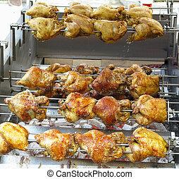 グリル, 暑い, バーベキュー, 鶏, 石炭