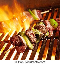 グリル, 牛肉, shishkababs