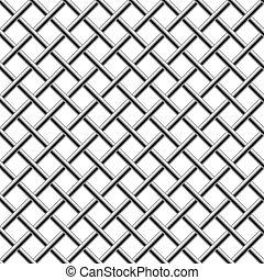 グリル, 編みこみ, 対角線, seamless, クロム, 隔離された, white.