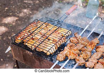グリル, 肉, カバブ, 準備された, 石炭, 木, おいしそうである, 新たに, shish