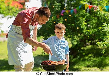 グリル, 肉, 料理, 父, 息子, バーベキュー