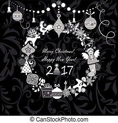 グリーティングカード, ∥ために∥, 冬 休日, ∥で∥, 掛かること, クリスマス, 花輪