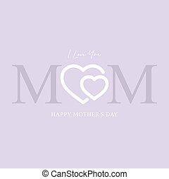グリーティングカード, イラスト, 日, ベクトル, 母, 幸せ