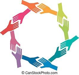 グループ, おお, 人々, 手, 中に, circle., 概念, の, チームワーク