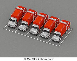 グループ, ごみ収集車, 駐車