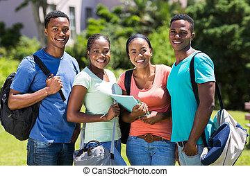 グループ, の, アフリカ, 団体学生, 屋外で