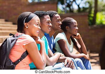 グループ, の, アフリカ, 団体学生, 目をそらす